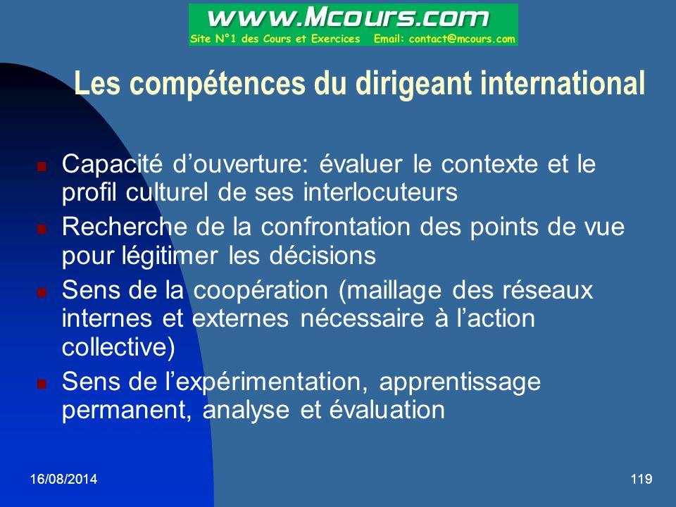 16/08/2014119 Les compétences du dirigeant international Capacité d'ouverture: évaluer le contexte et le profil culturel de ses interlocuteurs Recherc