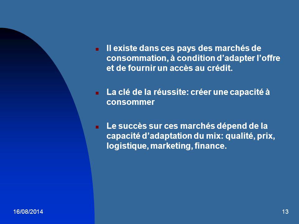 16/08/201413 Il existe dans ces pays des marchés de consommation, à condition d'adapter l'offre et de fournir un accès au crédit. La clé de la réussit