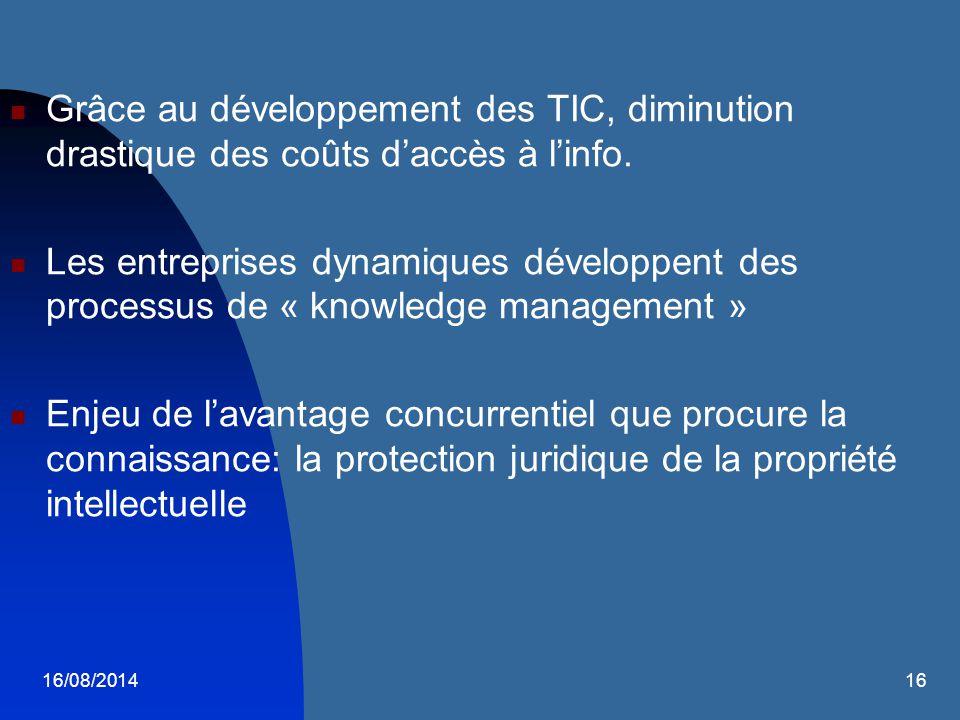 16/08/201416 Grâce au développement des TIC, diminution drastique des coûts d'accès à l'info. Les entreprises dynamiques développent des processus de