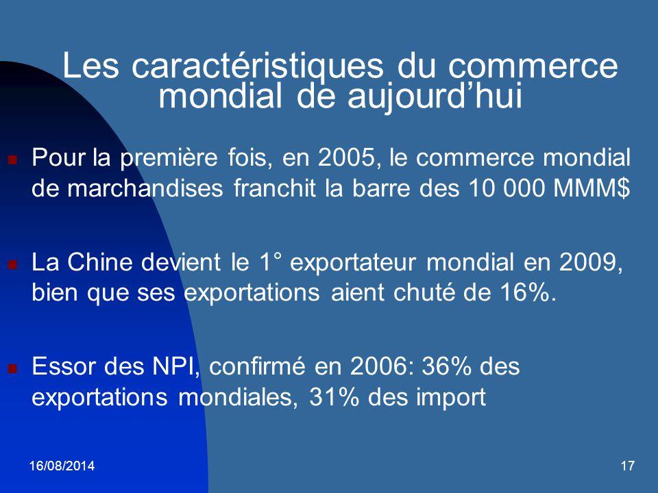 16/08/201417 Les caractéristiques du commerce mondial de aujourd'hui Pour la première fois, en 2005, le commerce mondial de marchandises franchit la b