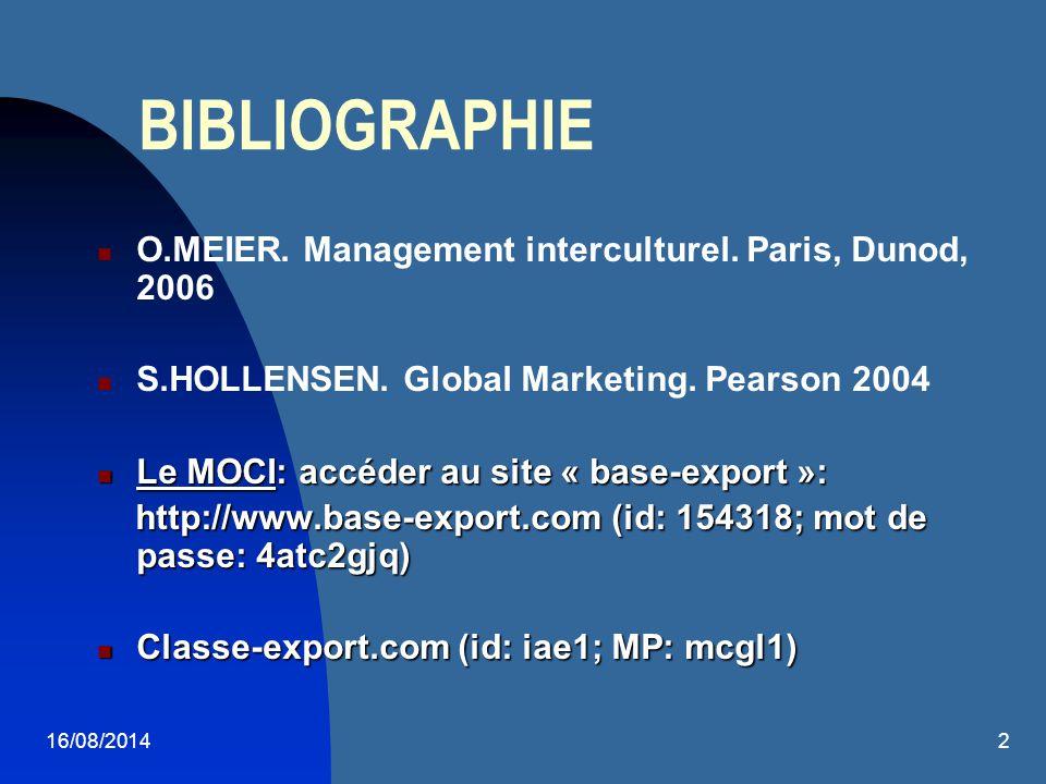16/08/20142 BIBLIOGRAPHIE O.MEIER. Management interculturel. Paris, Dunod, 2006 S.HOLLENSEN. Global Marketing. Pearson 2004 Le MOCI: accéder au site «
