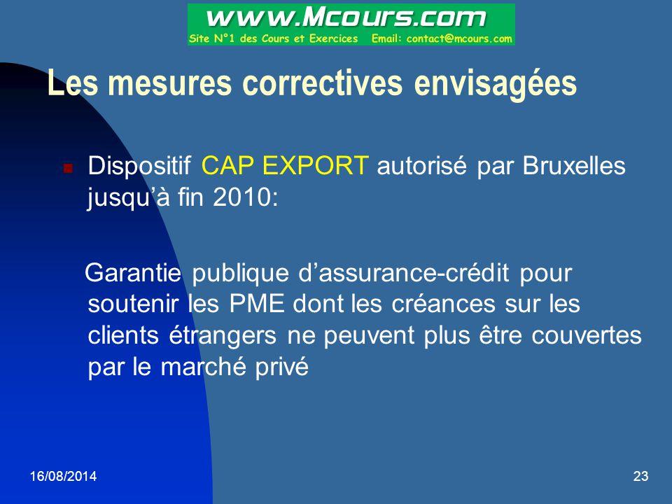 16/08/201423 Les mesures correctives envisagées Dispositif CAP EXPORT autorisé par Bruxelles jusqu'à fin 2010: Garantie publique d'assurance-crédit po