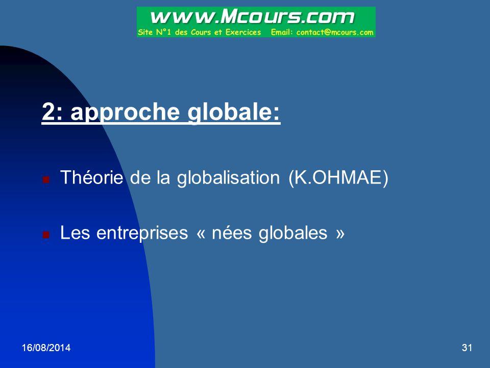 16/08/201431 2: approche globale: Théorie de la globalisation (K.OHMAE) Les entreprises « nées globales »