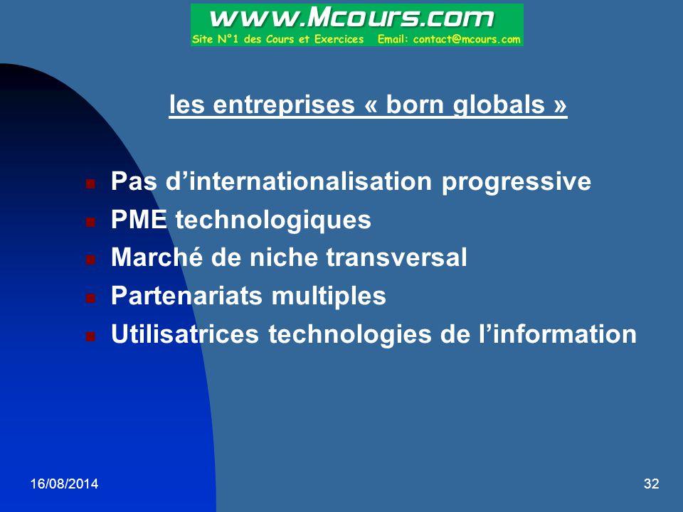 16/08/201432 les entreprises « born globals » Pas d'internationalisation progressive PME technologiques Marché de niche transversal Partenariats multi