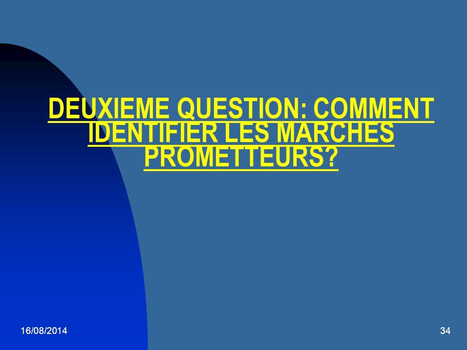 16/08/201434 DEUXIEME QUESTION: COMMENT IDENTIFIER LES MARCHES PROMETTEURS?