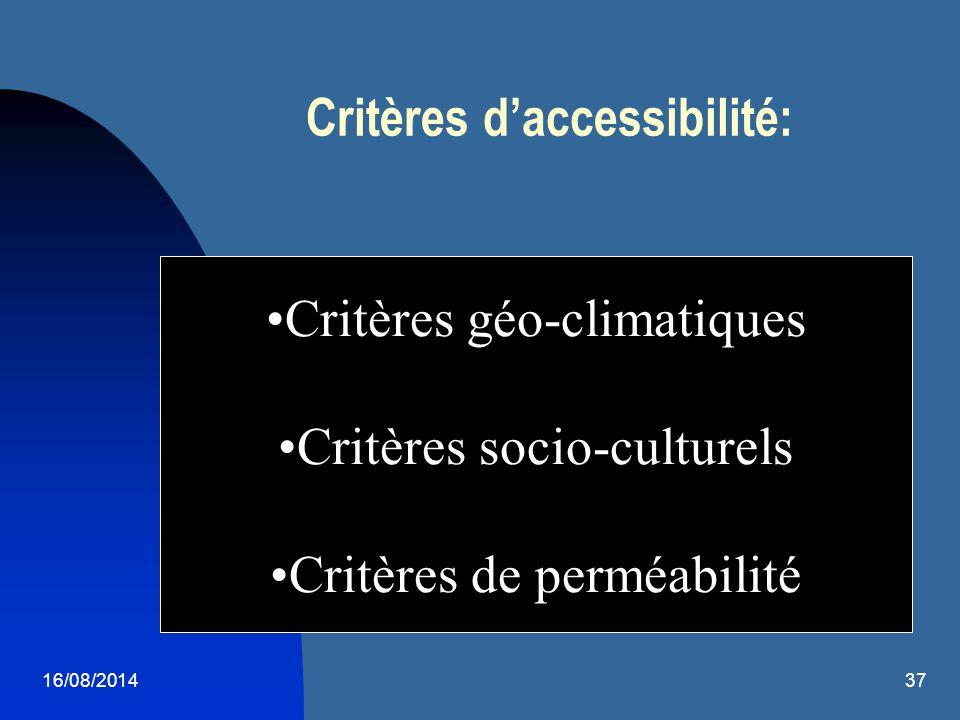 16/08/201437 Critères d'accessibilité: Critères géo-climatiques Critères socio-culturels Critères de perméabilité