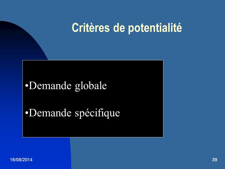 16/08/201439 Critères de potentialité Demande globale Demande spécifique