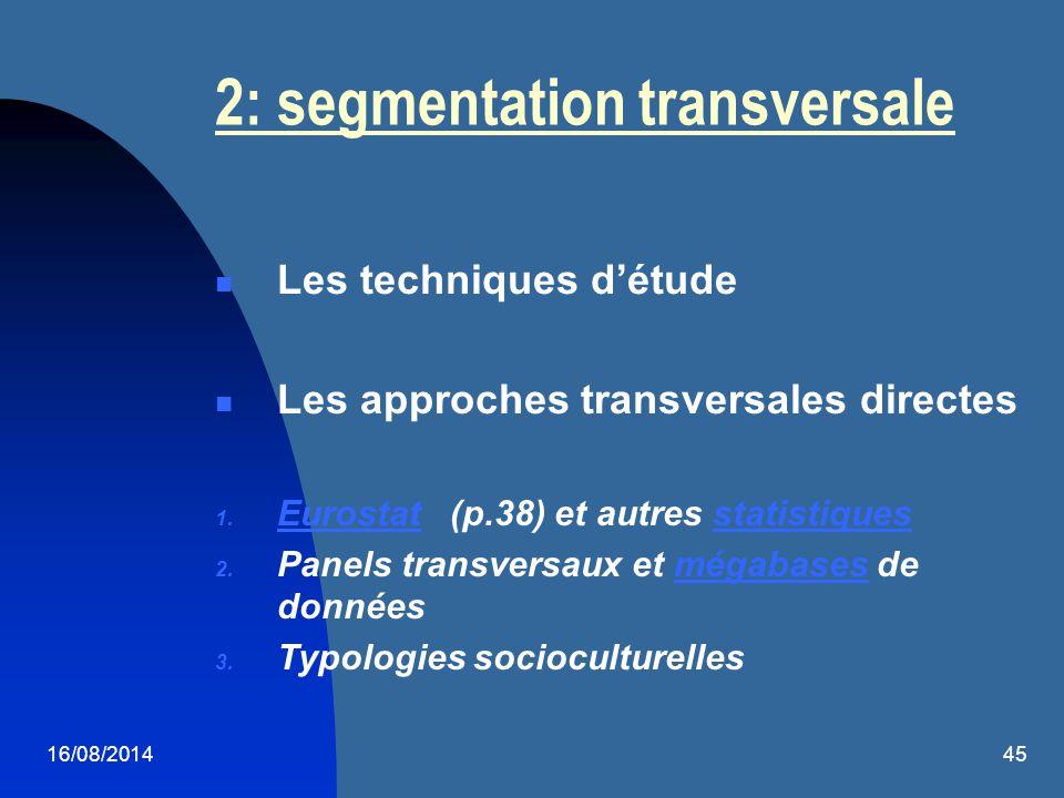 16/08/201445 2: segmentation transversale Les techniques d'étude Les approches transversales directes 1. Eurostat (p.38) et autres statistiques Eurost