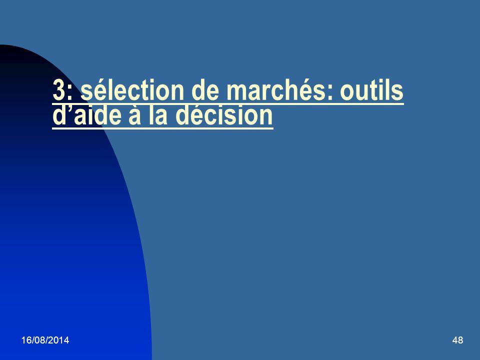 16/08/201448 3: sélection de marchés: outils d'aide à la décision