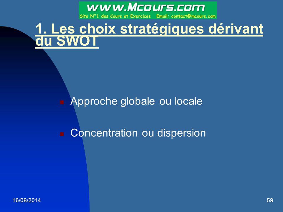 16/08/201459 1. Les choix stratégiques dérivant du SWOT Approche globale ou locale Concentration ou dispersion