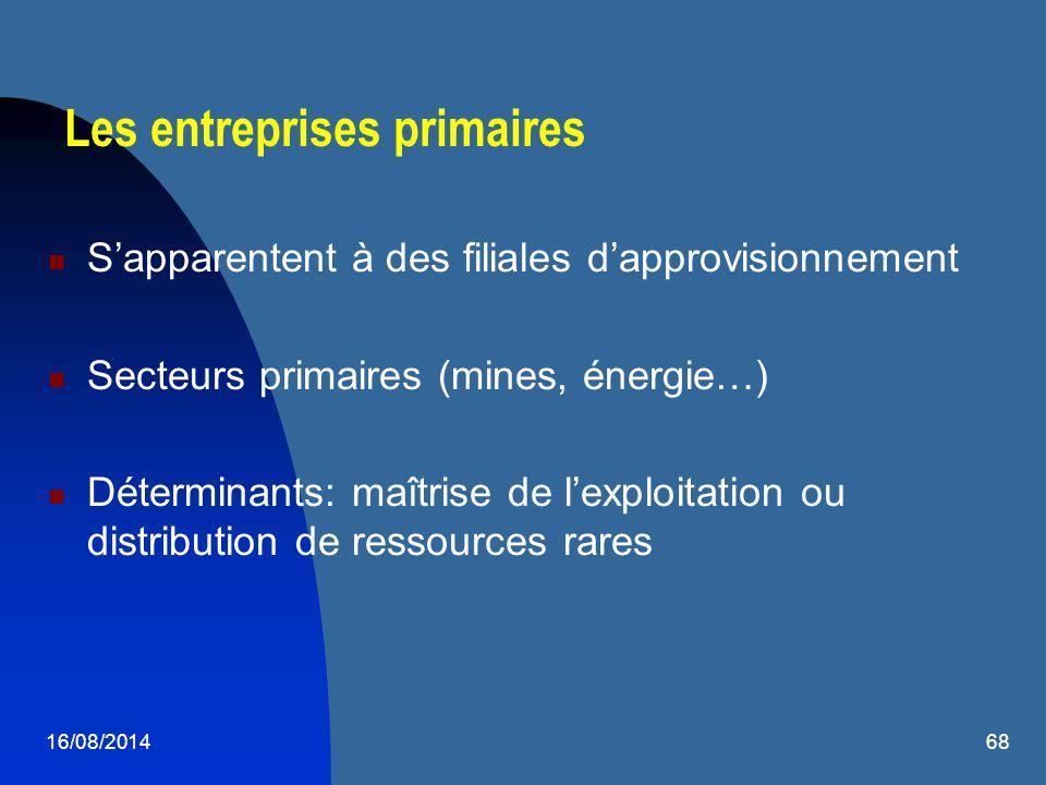 16/08/201468 Les entreprises primaires S'apparentent à des filiales d'approvisionnement Secteurs primaires (mines, énergie…) Déterminants: maîtrise de