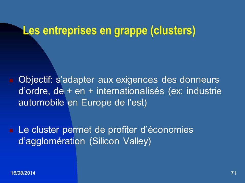 16/08/201471 Les entreprises en grappe (clusters) Objectif: s'adapter aux exigences des donneurs d'ordre, de + en + internationalisés (ex: industrie a