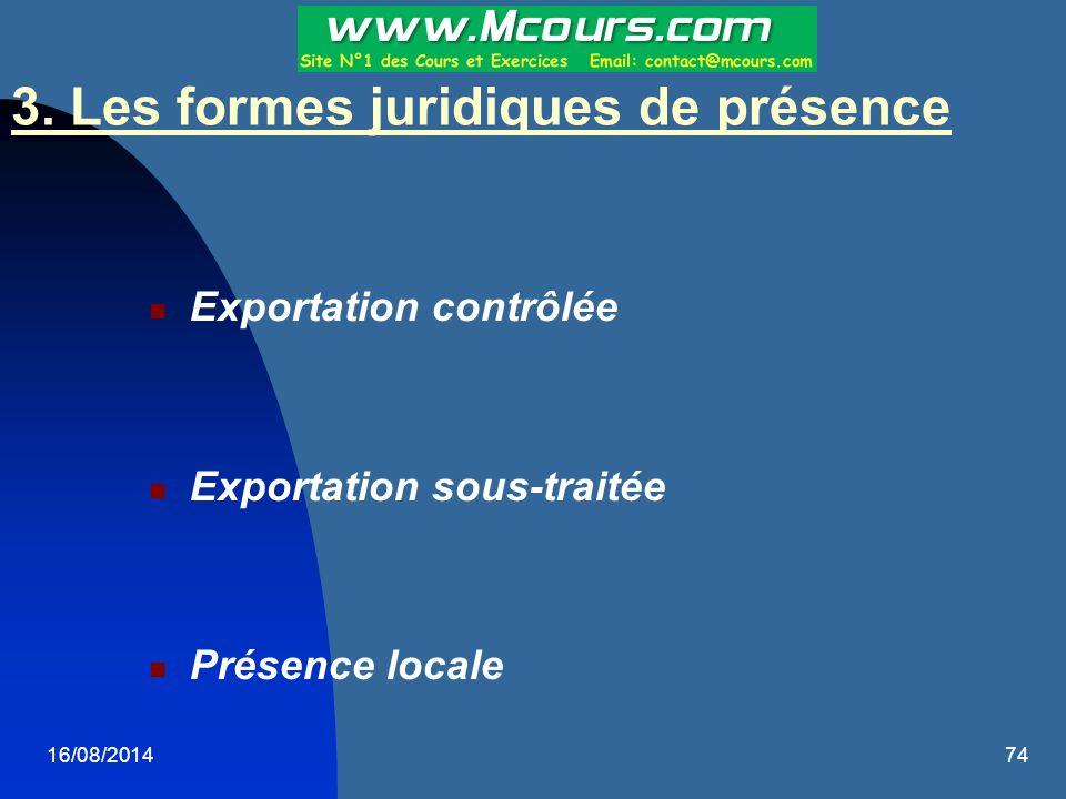 16/08/201474 Exportation contrôlée Exportation sous-traitée Présence locale 3. Les formes juridiques de présence