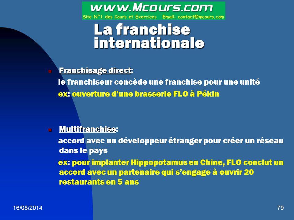 16/08/201479 La franchise internationale Franchisage direct Franchisage direct: le franchiseur concède une franchise pour une unité ex: ouverture d'un