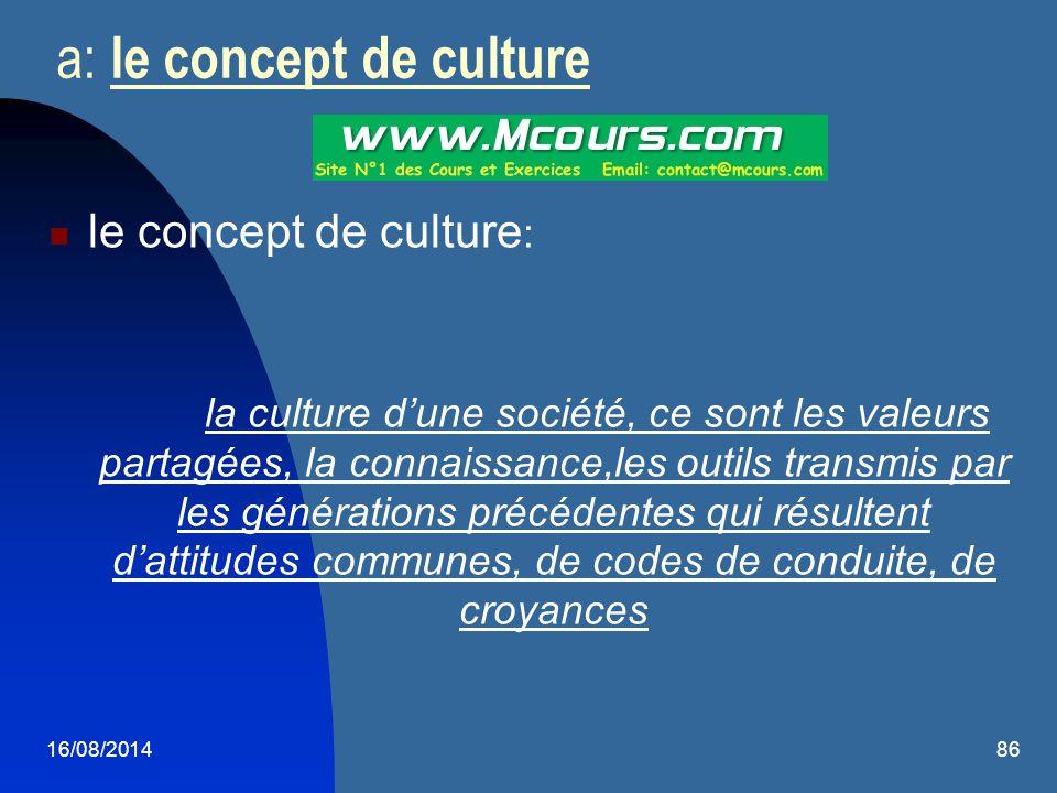 16/08/201486 a: le concept de culture le concept de culture : la culture d'une société, ce sont les valeurs partagées, la connaissance,les outils tran