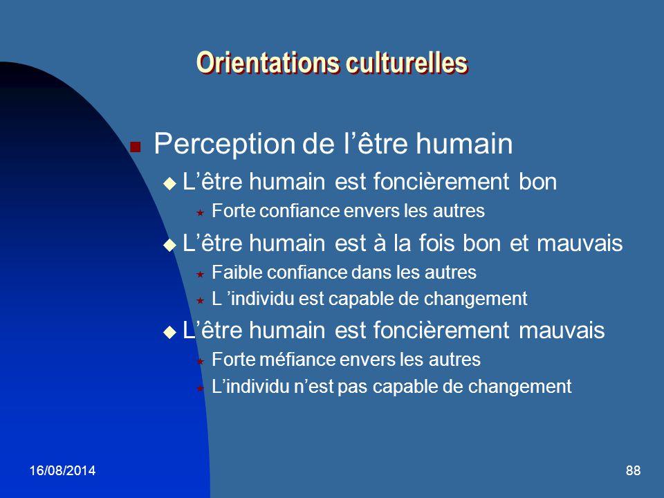 16/08/201488 Perception de l'être humain  L'être humain est foncièrement bon  Forte confiance envers les autres  L'être humain est à la fois bon et