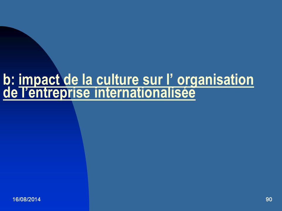 16/08/201490 b: impact de la culture sur l' organisation de l'entreprise internationalisée