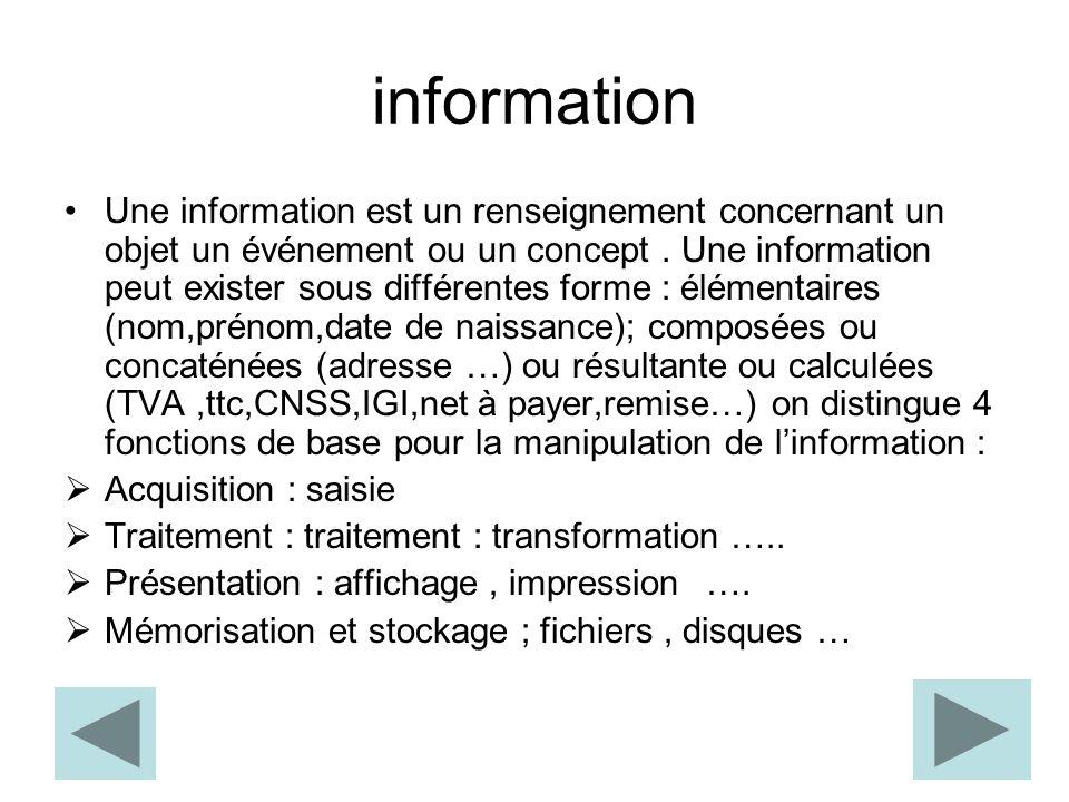 information Une information est un renseignement concernant un objet un événement ou un concept.