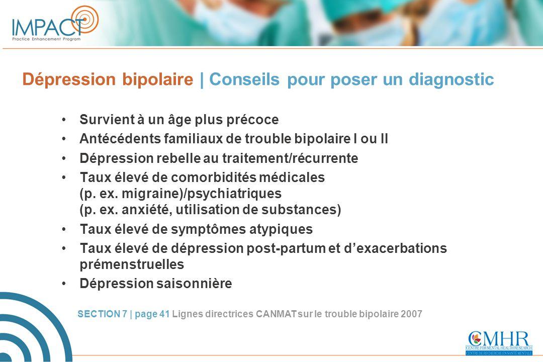 Dépression bipolaire | Conseils pour poser un diagnostic Survient à un âge plus précoce Antécédents familiaux de trouble bipolaire I ou II Dépression