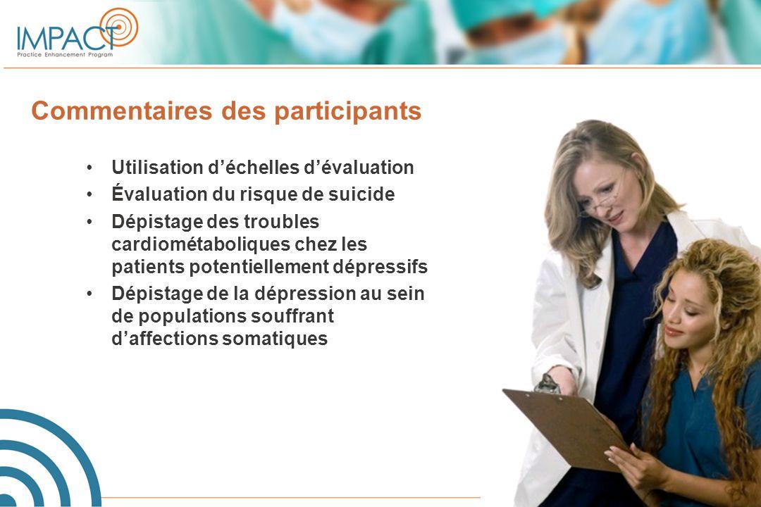Commentaires des participants Utilisation d'échelles d'évaluation Évaluation du risque de suicide Dépistage des troubles cardiométaboliques chez les p