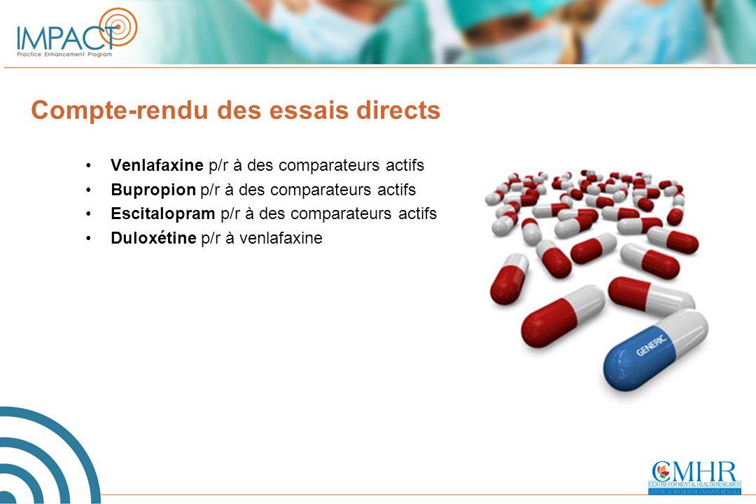 Compte-rendu des essais directs Venlafaxine p/r à des comparateurs actifs Bupropion p/r à des comparateurs actifs Escitalopram p/r à des comparateurs