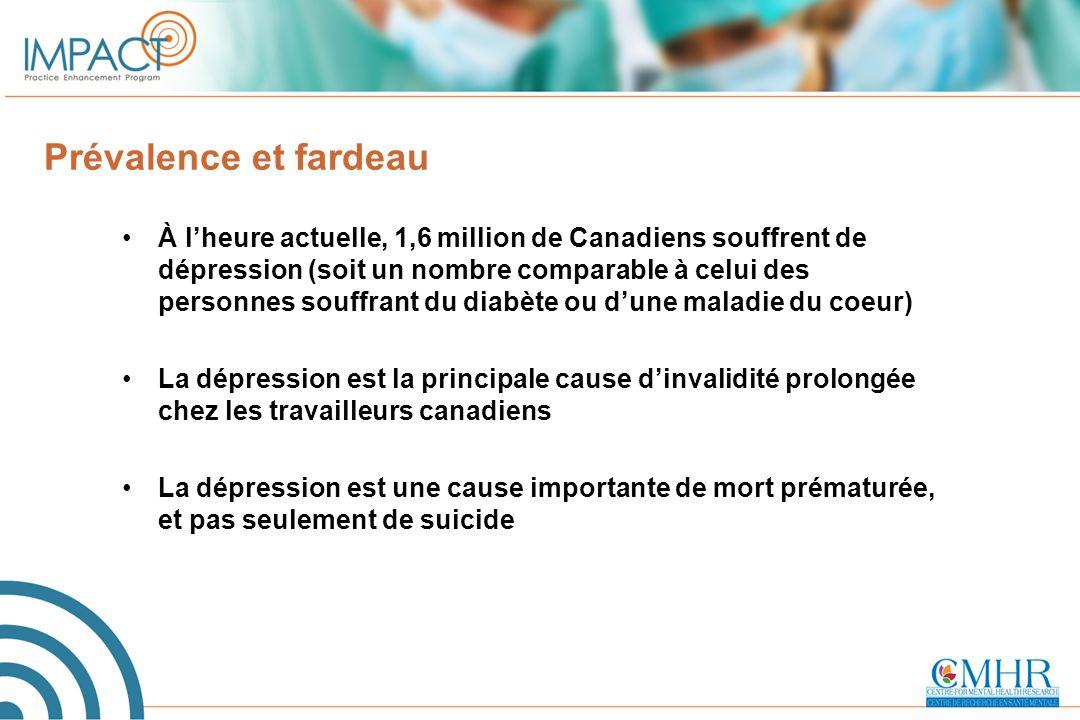 Prévalence et fardeau À l'heure actuelle, 1,6 million de Canadiens souffrent de dépression (soit un nombre comparable à celui des personnes souffrant