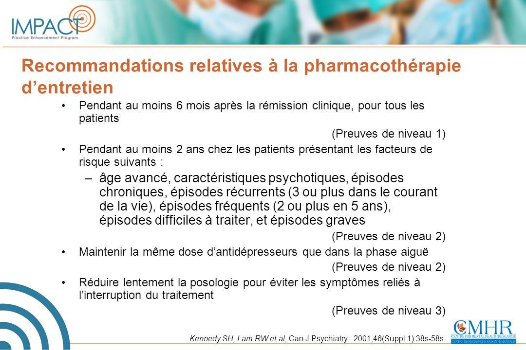 Recommandations relatives à la pharmacothérapie d'entretien Pendant au moins 6 mois après la rémission clinique, pour tous les patients (Preuves de ni