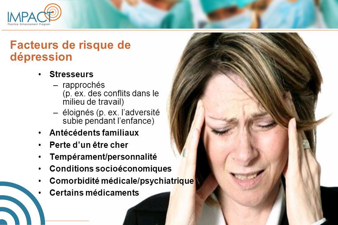 Facteurs de risque de dépression Stresseurs –rapprochés (p. ex. des conflits dans le milieu de travail) –éloignés (p. ex. l'adversité subie pendant l'