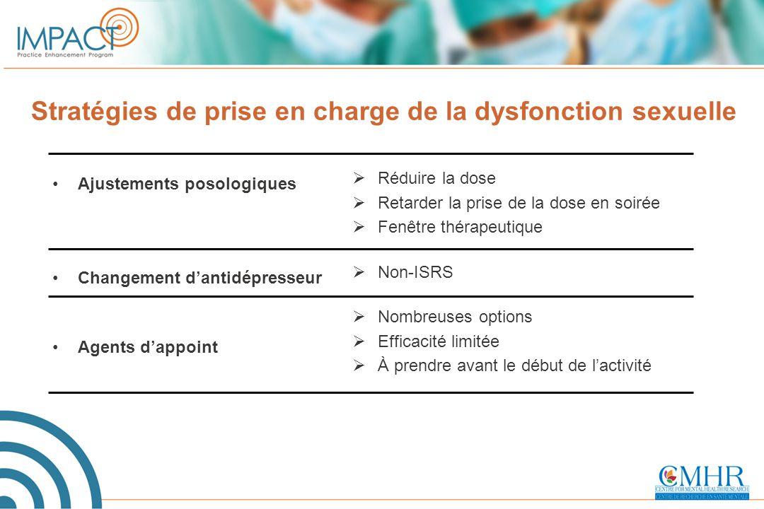 Stratégies de prise en charge de la dysfonction sexuelle Ajustements posologiques Changement d'antidépresseur Agents d'appoint  Réduire la dose  Ret