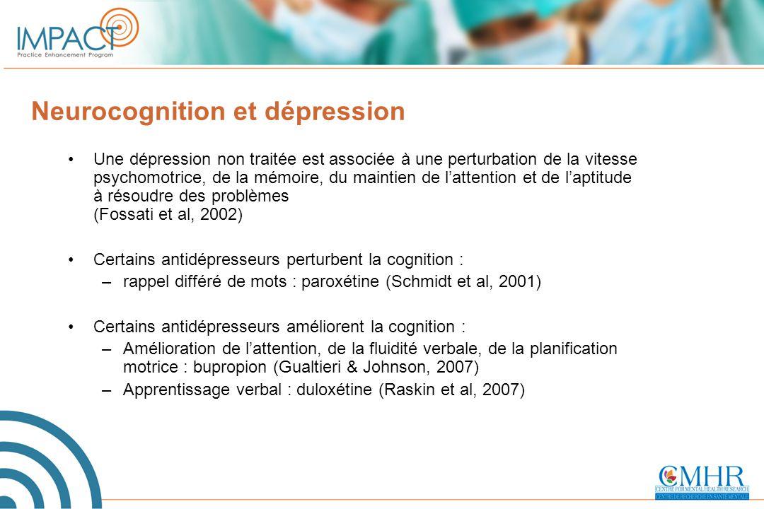 Neurocognition et dépression Une dépression non traitée est associée à une perturbation de la vitesse psychomotrice, de la mémoire, du maintien de l'a