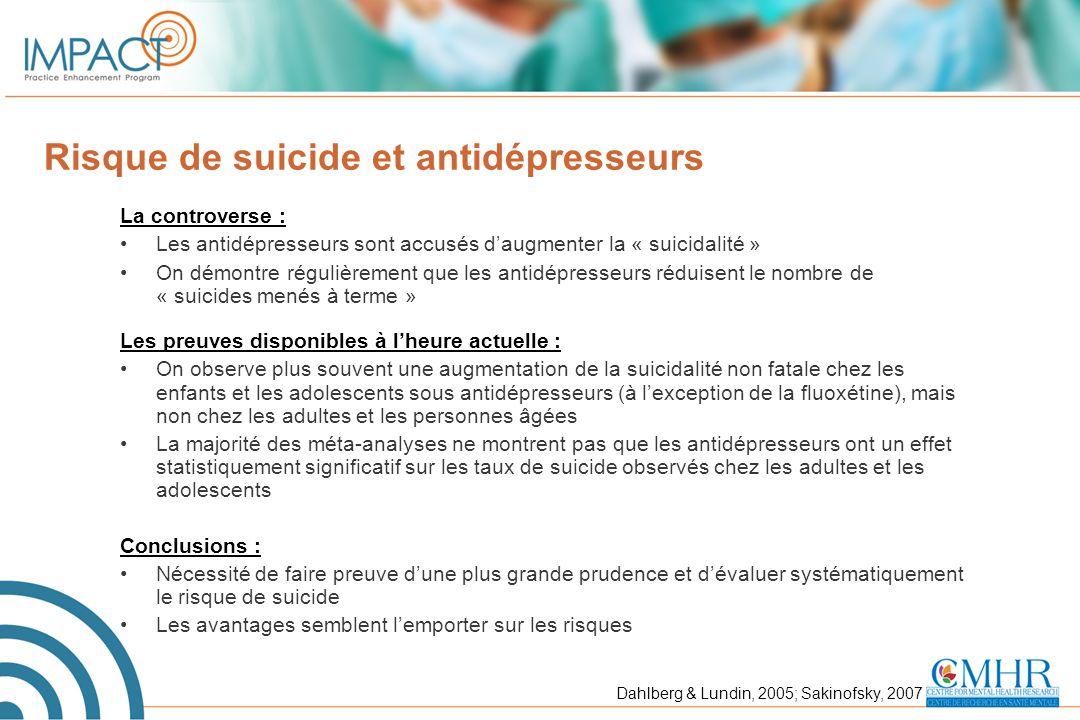 Risque de suicide et antidépresseurs La controverse : Les antidépresseurs sont accusés d'augmenter la « suicidalité » On démontre régulièrement que le