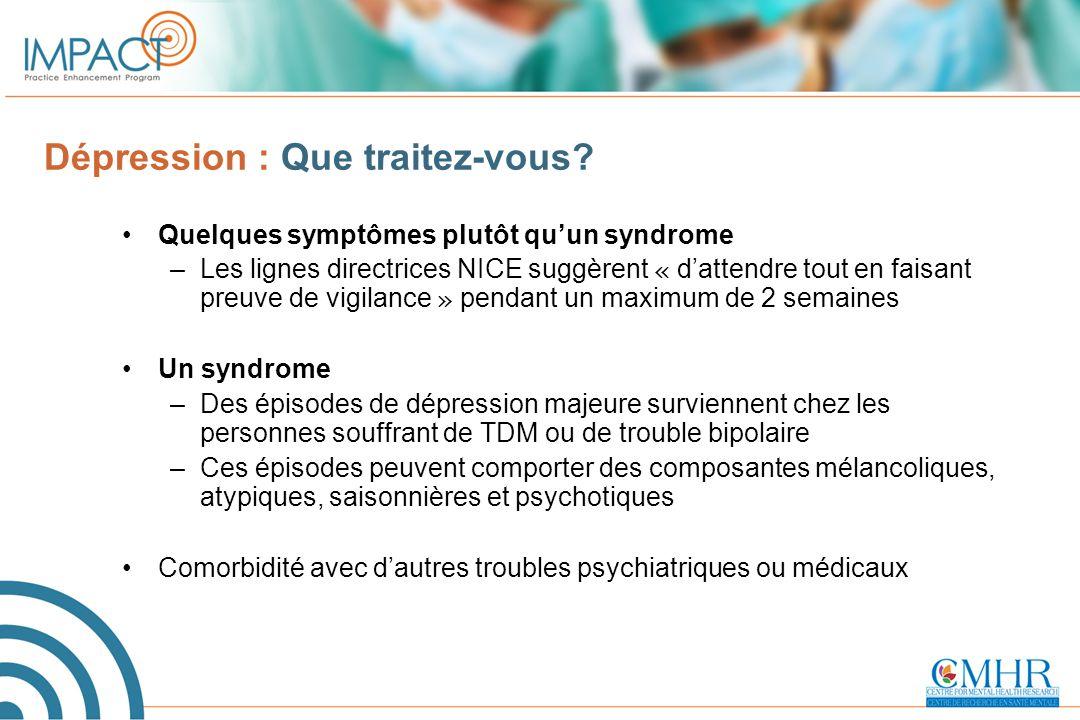 Outils pour la dispensation de soins en fonction des paramètres mesurés Dépistage –Détecter la dépression (questionnaire PHQ à 2 items) –Écarter la présence d'un trouble bipolaire (MDQ) Diagnostic –Vue d'ensemble du DSM-IV –Prédicteurs de la dépression bipolaire Évaluation du risque de suicide Suivi des symptômes –HAMD-7 (médecin) –QIDS-SR (patient)