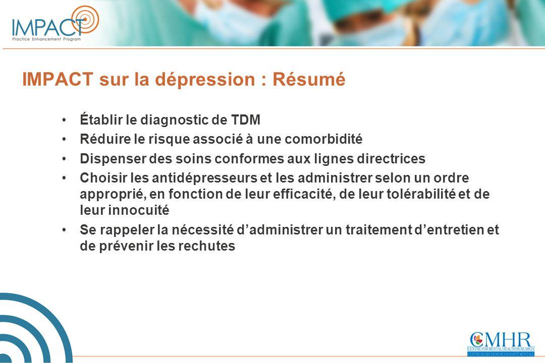 IMPACT sur la dépression : Résumé Établir le diagnostic de TDM Réduire le risque associé à une comorbidité Dispenser des soins conformes aux lignes di