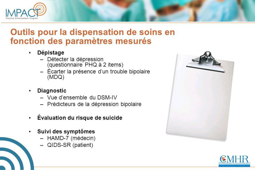 Outils pour la dispensation de soins en fonction des paramètres mesurés Dépistage –Détecter la dépression (questionnaire PHQ à 2 items) –Écarter la pr