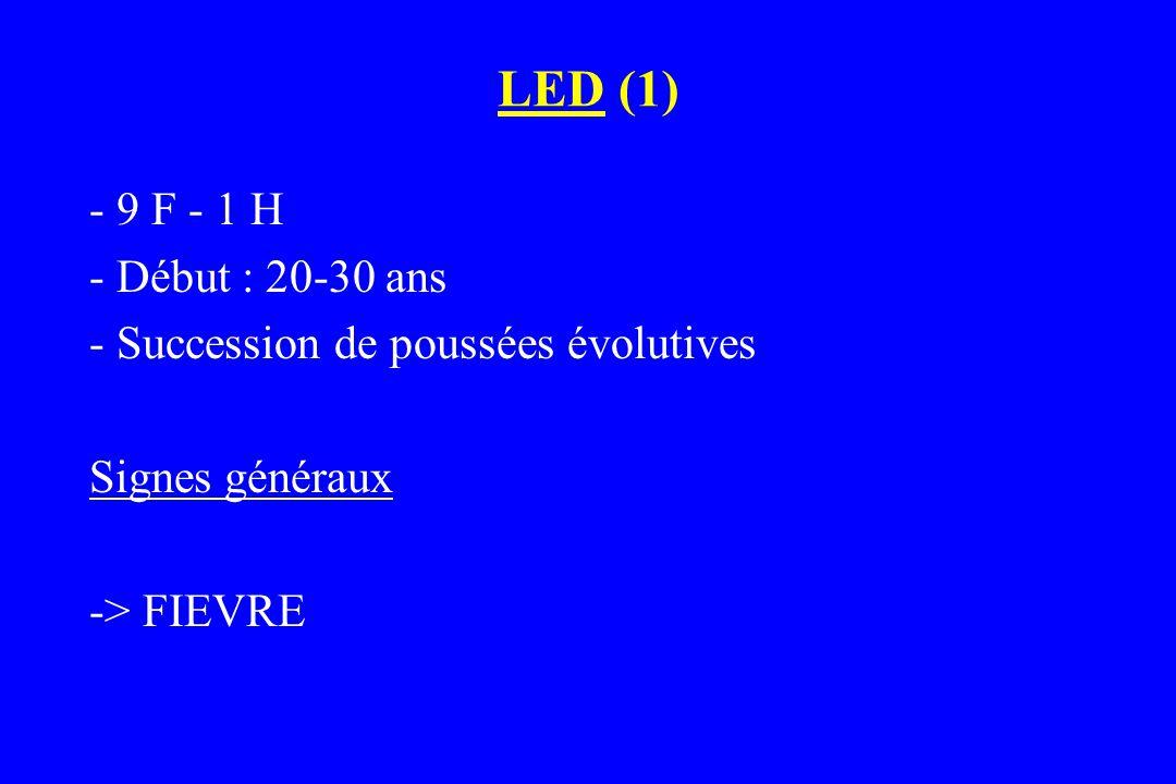 LED (2) 3 atteintes « bénignes »  PEAU  ARTICULATIONS  SEREUSES 3 atteintes sévères  CERVEAU  REIN  SANG