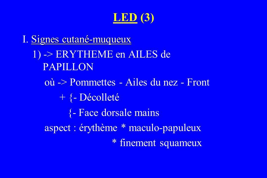 LED (3) Signes cutané-muqueux I. Signes cutané-muqueux 1) -> ERYTHEME en AILES de PAPILLON où -> Pommettes - Ailes du nez - Front + {- Décolleté {- Fa