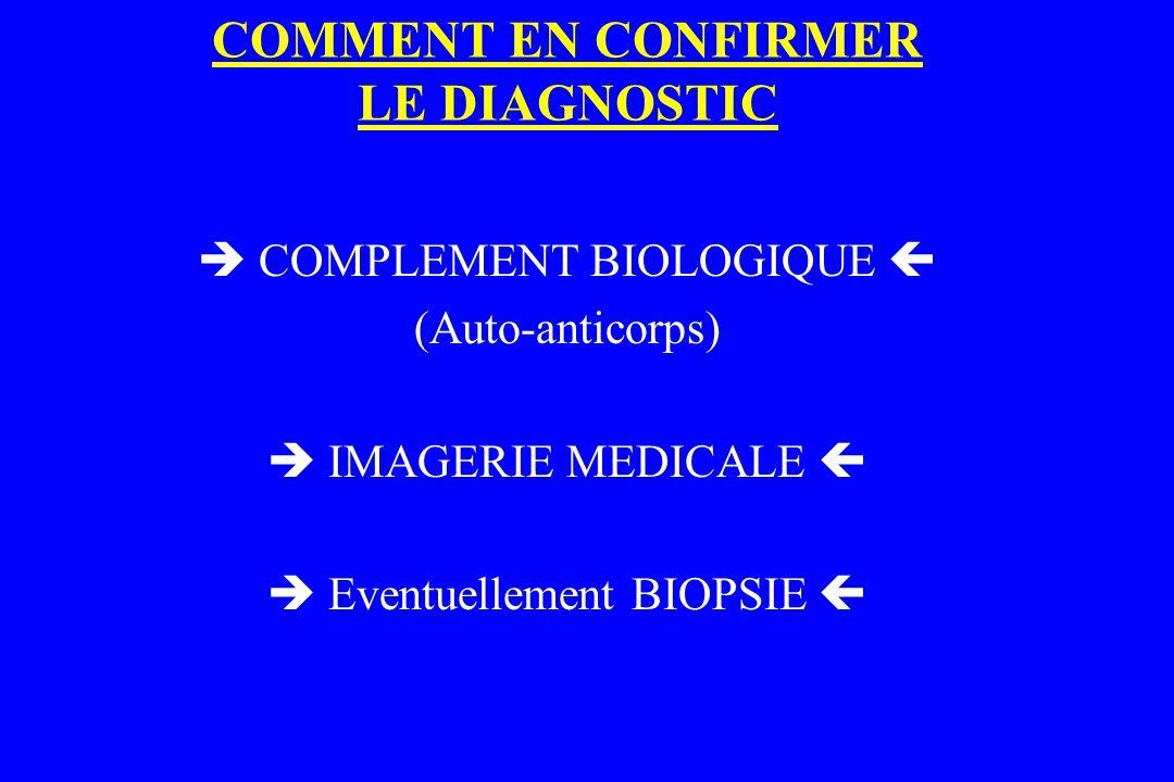 COMMENT EN CONFIRMER LE DIAGNOSTIC  COMPLEMENT BIOLOGIQUE  (Auto-anticorps)  IMAGERIE MEDICALE   Eventuellement BIOPSIE 