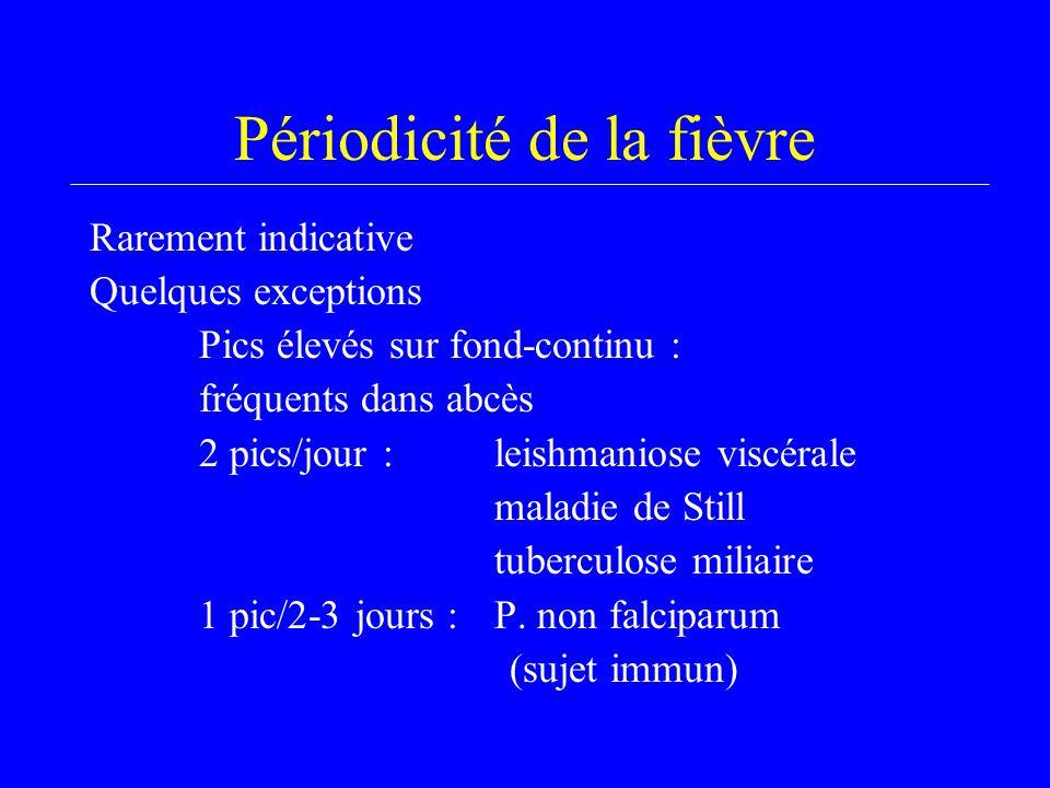 Périodicité de la fièvre Rarement indicative Quelques exceptions Pics élevés sur fond-continu : fréquents dans abcès 2 pics/jour :leishmaniose viscérale maladie de Still tuberculose miliaire 1 pic/2-3 jours :P.
