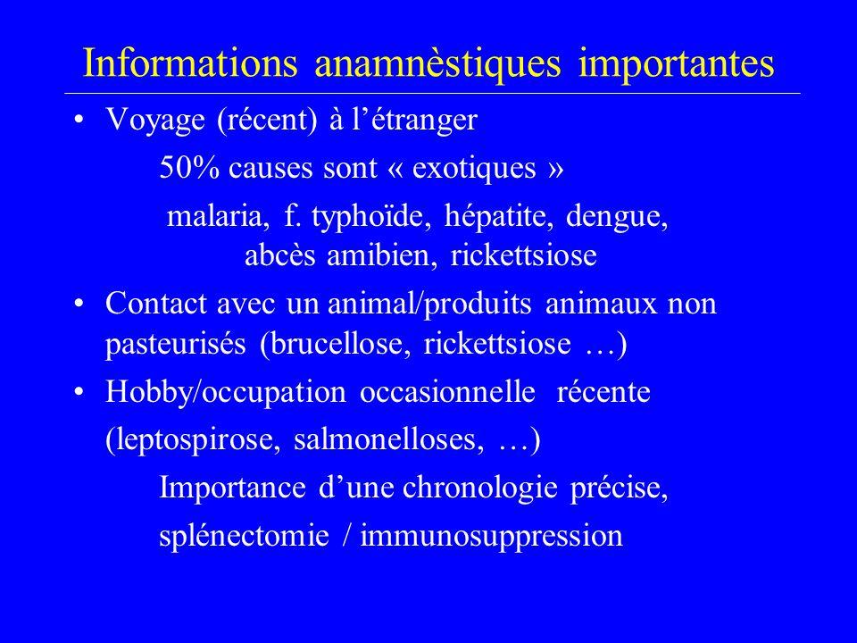 Informations anamnèstiques importantes Voyage (récent) à l'étranger 50% causes sont « exotiques » malaria, f. typhoïde, hépatite, dengue, abcès amibie