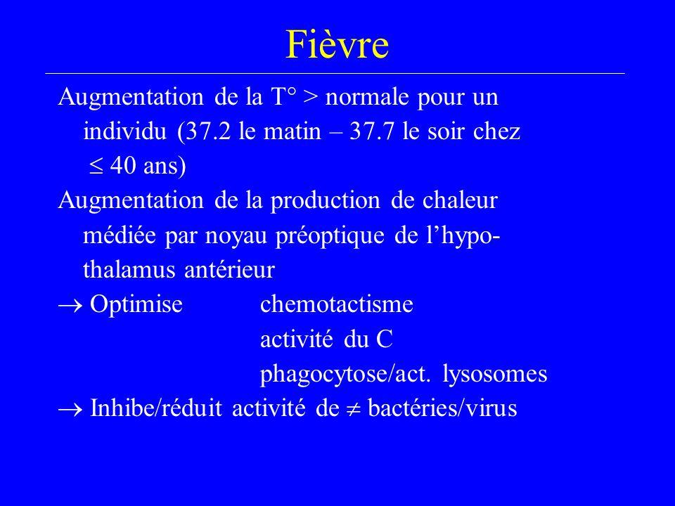 Fièvre Augmentation de la T° > normale pour un individu (37.2 le matin – 37.7 le soir chez  40 ans) Augmentation de la production de chaleur médiée par noyau préoptique de l'hypo- thalamus antérieur  Optimise chemotactisme activité du C phagocytose/act.