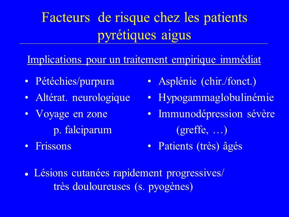 Facteurs de risque chez les patients pyrétiques aigus Pétéchies/purpura Altérat. neurologique Voyage en zone p. falciparum Frissons Asplénie (chir./fo