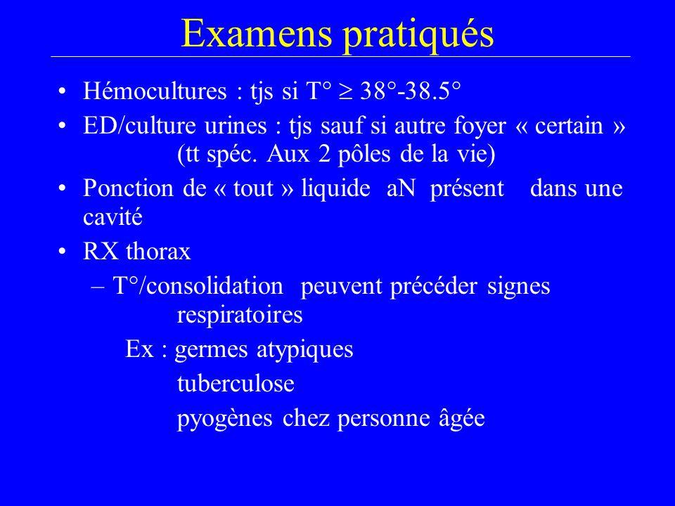 Examens pratiqués Hémocultures : tjs si T°  38°-38.5° ED/culture urines : tjs sauf si autre foyer « certain » (tt spéc.