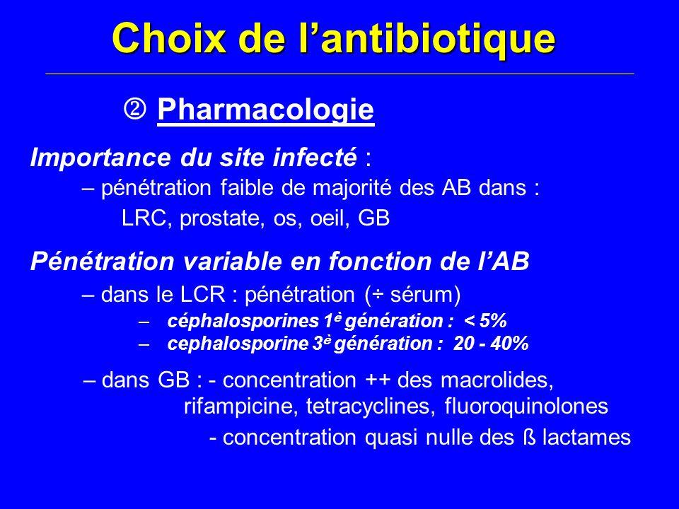 Choix de l'antibiotique  Pharmacologie Importance du site infecté : – pénétration faible de majorité des AB dans : LRC, prostate, os, oeil, GB Pénétr