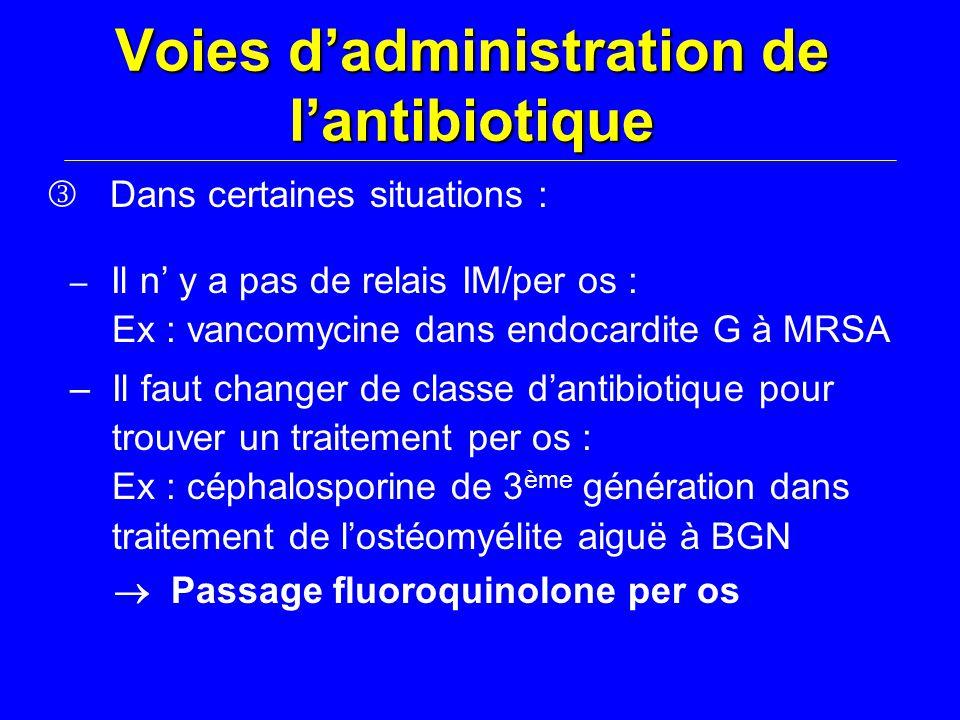 Voies d'administration de l'antibiotique Dans certaines situations : – Il n' y a pas de relais IM/per os : Ex : vancomycine dans endocardite G à MRSA – Il faut changer de classe d'antibiotique pour trouver un traitement per os : Ex : céphalosporine de 3 ème génération dans traitement de l'ostéomyélite aiguë à BGN  Passage fluoroquinolone per os
