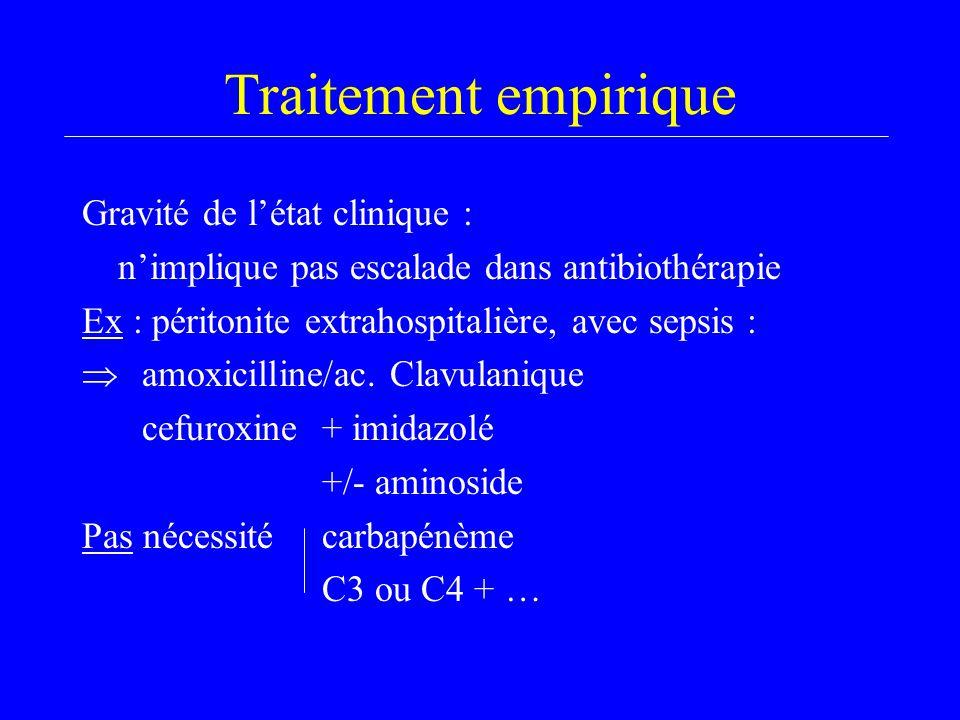 Traitement empirique Gravité de l'état clinique : n'implique pas escalade dans antibiothérapie Ex : péritonite extrahospitalière, avec sepsis :  amoxicilline/ac.
