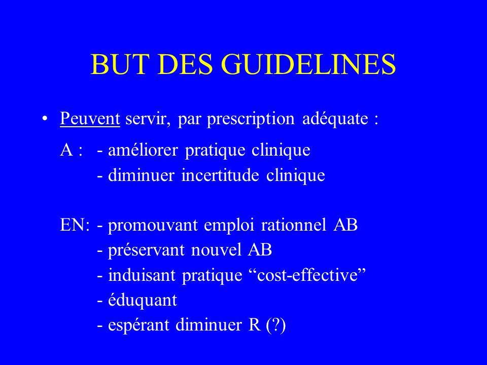 BUT DES GUIDELINES Peuvent servir, par prescription adéquate : A :- améliorer pratique clinique - diminuer incertitude clinique EN:- promouvant emploi