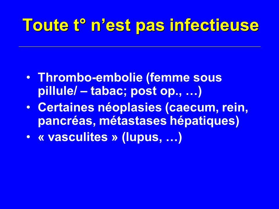 Toute t° n'est pas infectieuse Thrombo-embolie (femme sous pillule/ – tabac; post op., …) Certaines néoplasies (caecum, rein, pancréas, métastases hépatiques) « vasculites » (lupus, …)
