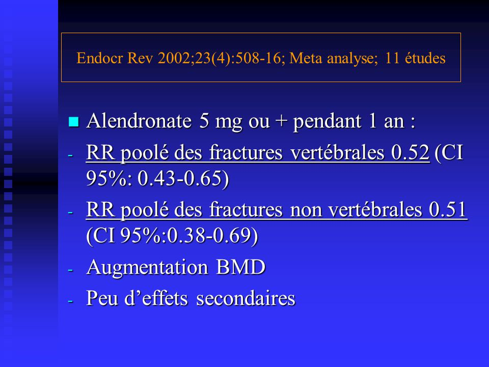 Endocr Rev 2002;23(4):508-16; Meta analyse; 11 études Alendronate 5 mg ou + pendant 1 an : Alendronate 5 mg ou + pendant 1 an : - RR poolé des fractur