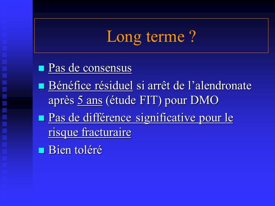 Long terme ? Pas de consensus Pas de consensus Bénéfice résiduel si arrêt de l'alendronate après 5 ans (étude FIT) pour DMO Bénéfice résiduel si arrêt