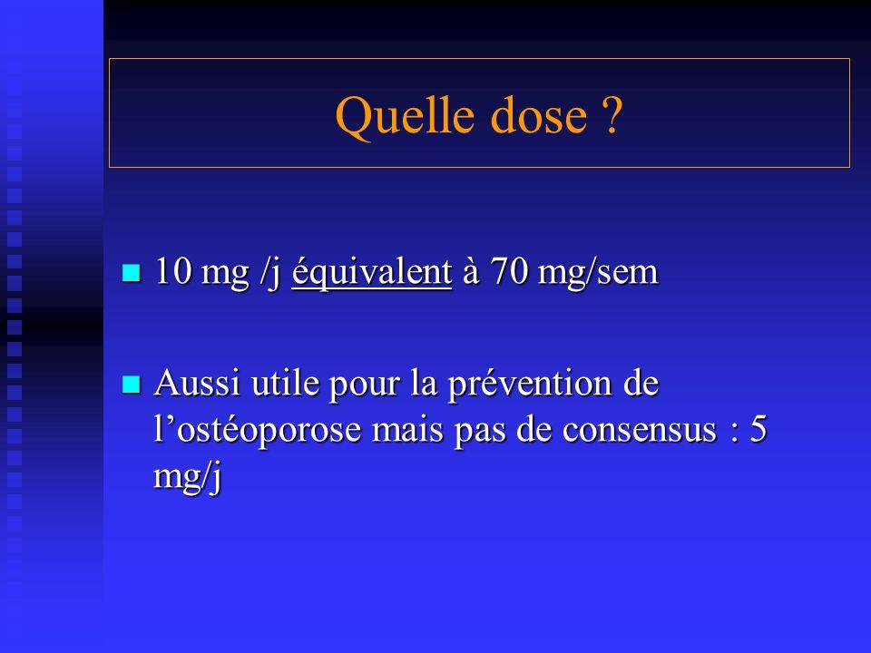Quelle dose ? 10 mg /j équivalent à 70 mg/sem 10 mg /j équivalent à 70 mg/sem Aussi utile pour la prévention de l'ostéoporose mais pas de consensus :